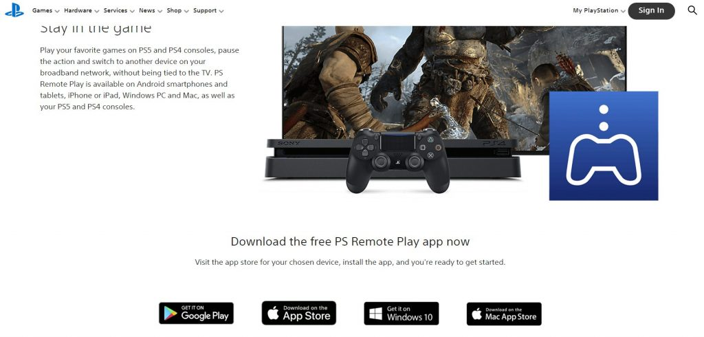 PlayStation Remote Play app